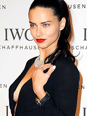 Adriana Lima shows some hot braless sideboob