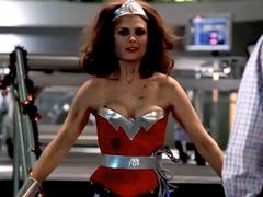 Emily Deschanel cleavage in wonder woman costume