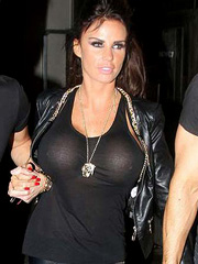 Katie Price see through top while night out