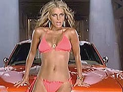 Jessica Simpson washing the car in pink bikini