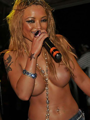 Tila Tequila topless and attacked on stage