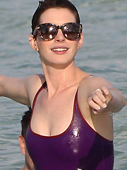 Anne Hathaway nipples in wet see thru bikini