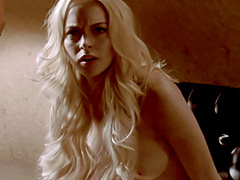 Lindsay Lohan naked shows big bare boobs