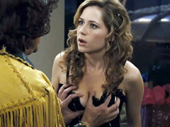 hot Jenna Fischer big breasts are grabbed