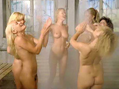 Brigitte Lahaie nude into a group shower