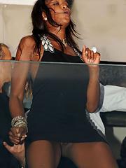 Naomi Campbell upskirt in black dress