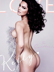 nude Kelly Brook striping for magazine