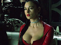 Monica Bellucci cleavage in red leather top