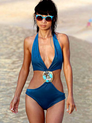 Bai Ling sexy in one piece bathing suit
