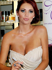 Amy Childs big fake tits fall out of dress