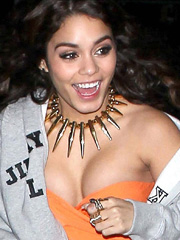 Vanessa Hudgens boobs almost slip out of her top