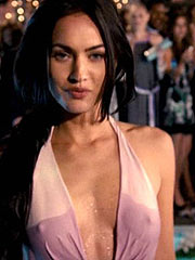 Megan Fox hard pokies thru in sexy pink dress