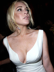 Lindsay Lohan upskirt and big cleavage