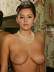 Keeley Hazell in black lingerie and exposing tits
