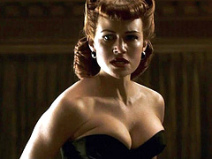 Carla Gugino cleavage in a black bustier