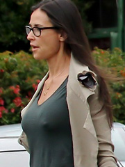Demi Moore braless flashes hard nipples