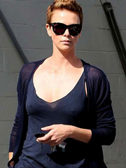 Charlize Theron nipple pokies in tank top