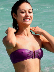 Olga Kurylenko hard nipples in a bikini