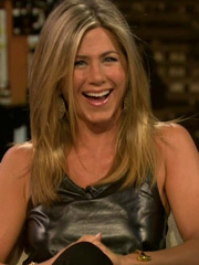Jennifer Aniston nipple pokies in leather dress