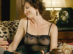 Brigitte Lo Cicero braless in see through top