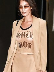 Hottie Bella Hadid Goes Braless in Dior T-Shirt