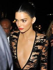 Model Kendall Jenner See Through Dress in Paris
