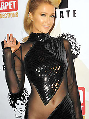 Paris Hilton hot in half see through dress