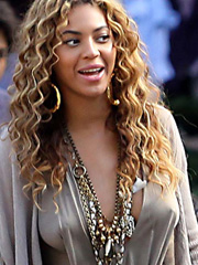 Beyonce Knowles braless and very leggy