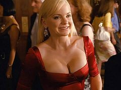Anna Faris cleavage in a slinky red dress