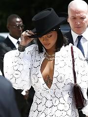Rihanna Flashes Cleavage