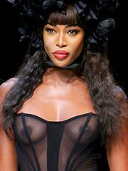 Naomi Campbell nipples hit the runway