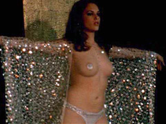 Amanda Righetti dancing topless on stage