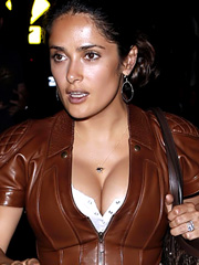 Salma Hayek pushed up cleavage hit the town