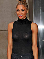 Ciara braless in some see through dress