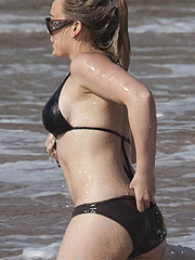 Hilary Duff showing off her pokies in sexy bikini