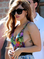 Lady Gaga oops flashes off sloppy sideboob